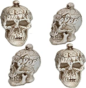 Skeleton Skull Heads Halloween Decor | Realistic Human Skulls Decorations | Ceramic Spooky Small Home Table Candle Candy Decoration | Looks Real Crazy Bones Anatomy Scary Pirate Decoration | 4 Pack