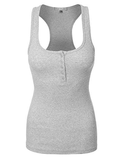 bedad24fd35fab Image Unavailable. Image not available for. Color  LE3NO Womens Lightweight  Scoop Neck Ribbed Henley Tank Top