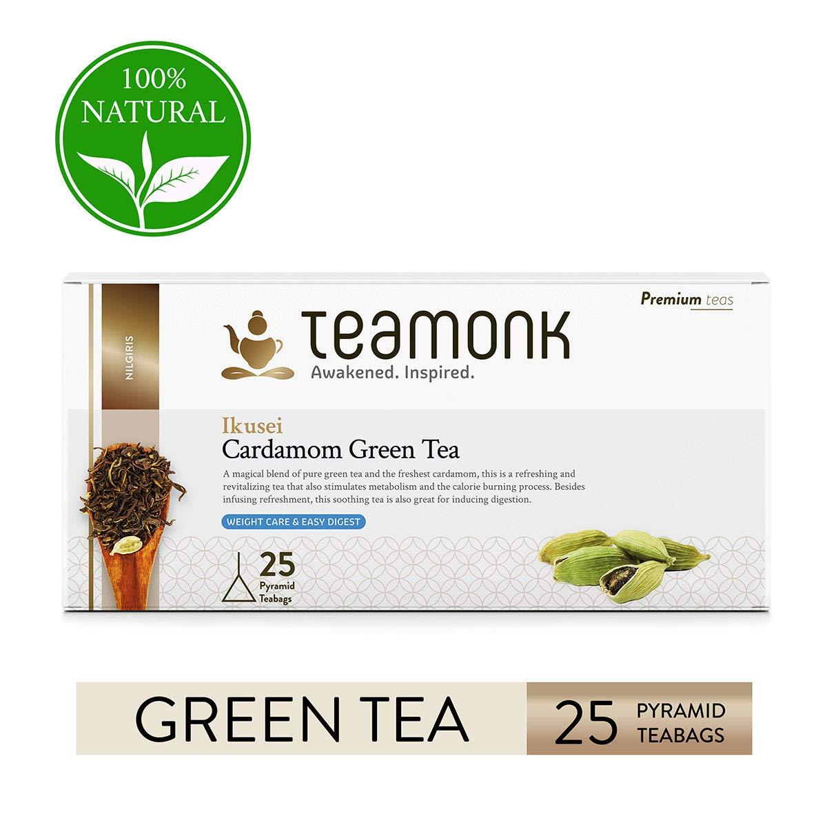 Teamonk Ikusei Nilgiri Cardamom Green Tea Bags - 25 Teabags