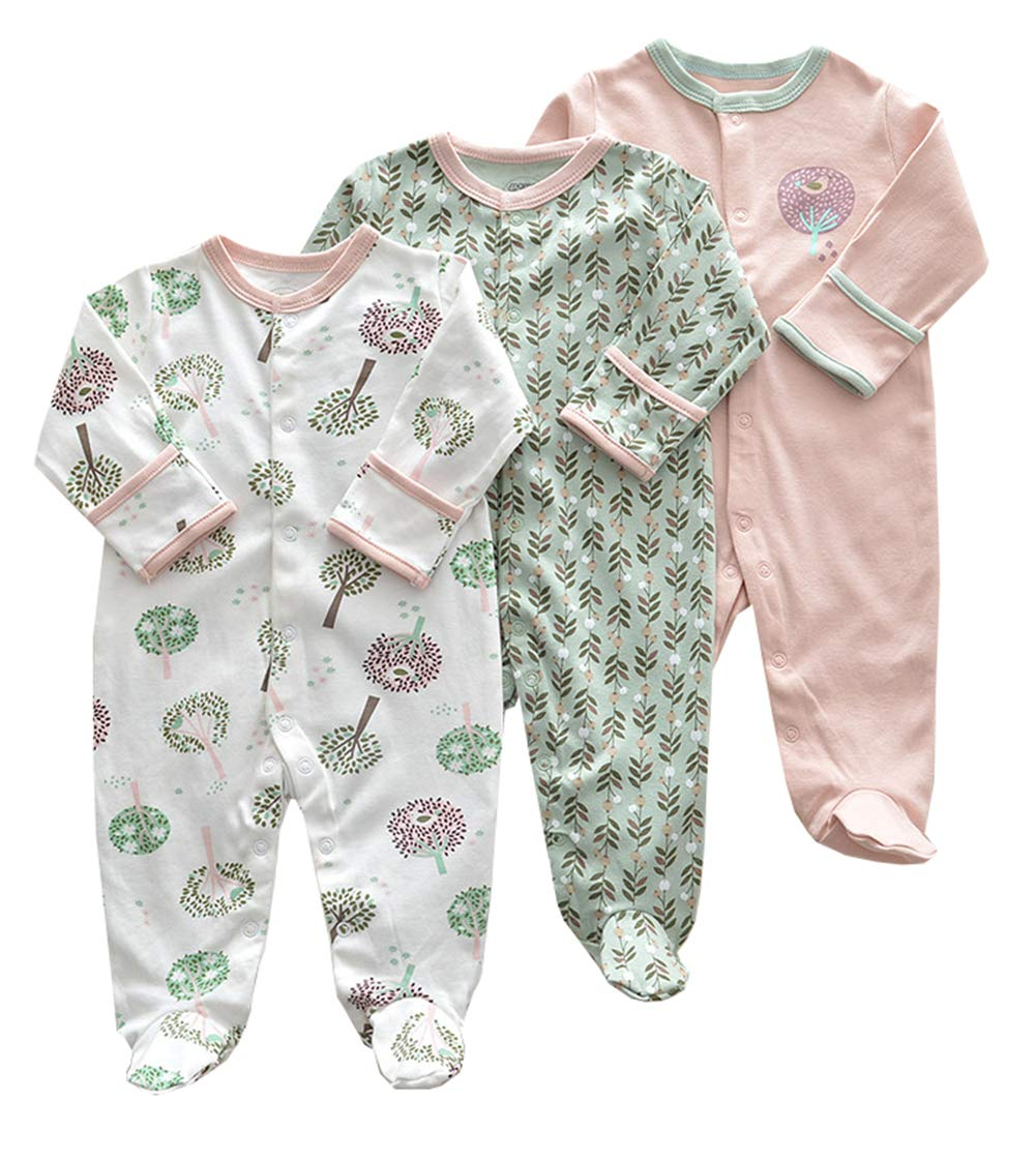 AIKSSOO Infant Toddler Baby Unisex 3 Pack Printed Footie Pajamas Sleeper Romper