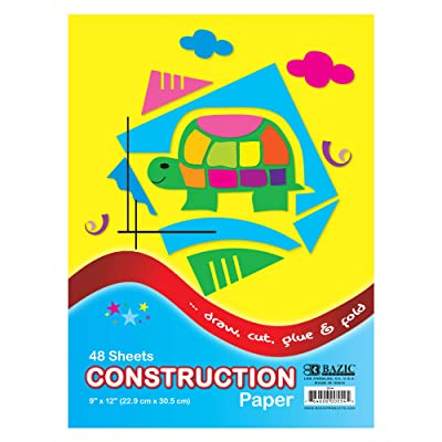 """BAZIC 48 Sheets 9"""" X 12"""" Construction Paper Pad, Assorted Colors Great For Creative Draw Cut Glue Fold, Gift for Toddler Kids Classrooms School Home DIY Projects : Kraft Paper : Office Products"""