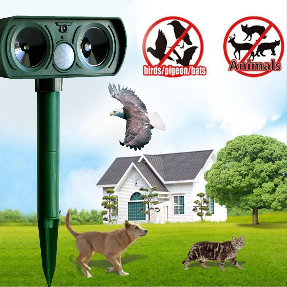 TechCode Repellent Repeller, Ultrasonic Pest Repeller Solar Animal Outdoor Repeller Cat, Dog, Mice, Snake, Fox, Mole, Bird Repellent Eliminator Pest Control PIR Sensor for Yard, Lawn, Garden