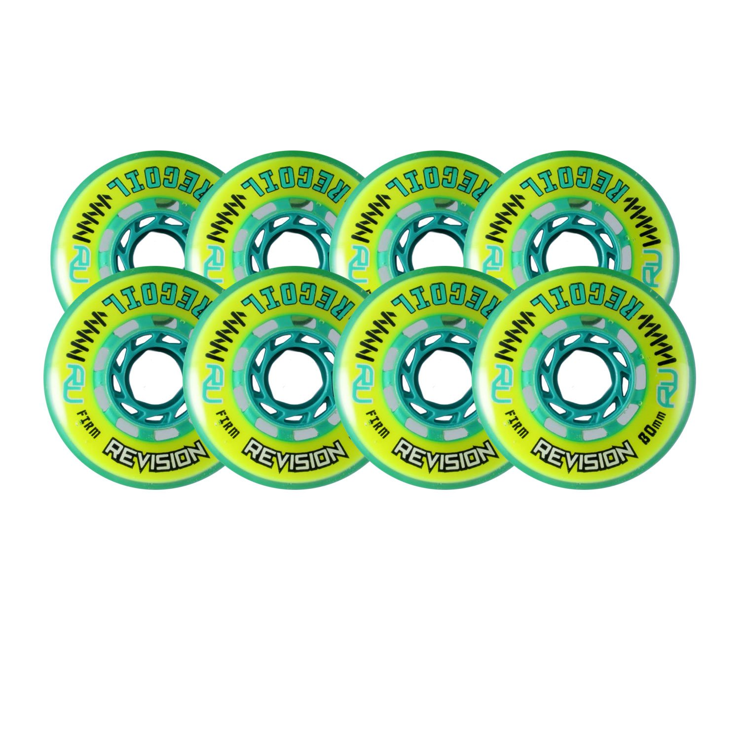 Revision Wheels Inline Roller Hockey Recoil Firm Yellow 76mm 80mm 78A Hilo Set