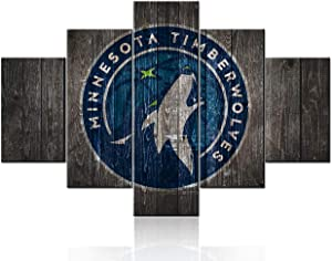 """5 Piece NBA Wall Art Minnesota Timberwolves Paintings Canvas Poster Basketball Pictures HD Printed Bedroom Modern House Decorations Giclee Framed Textured Artwork Stretched Ready to Hang(60""""Wx40""""H)"""