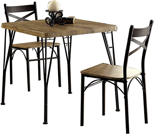 Amazon Com Benjara Industrial Style 3 Piece Dining Table Set Of Wood And Metal Brown And Black Table Chair Sets
