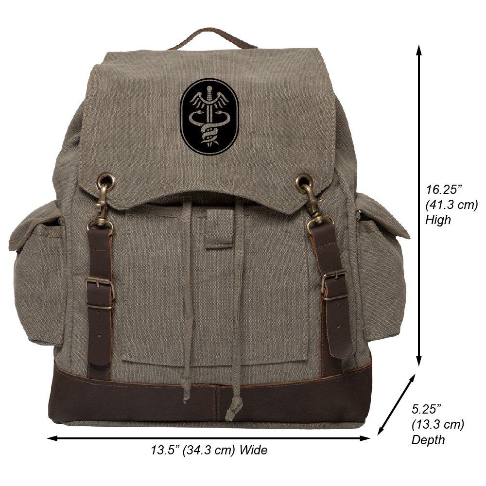 Caduceous Medical Hippocratic Symbol Rucksack w//Leather Straps Khaki /& Black