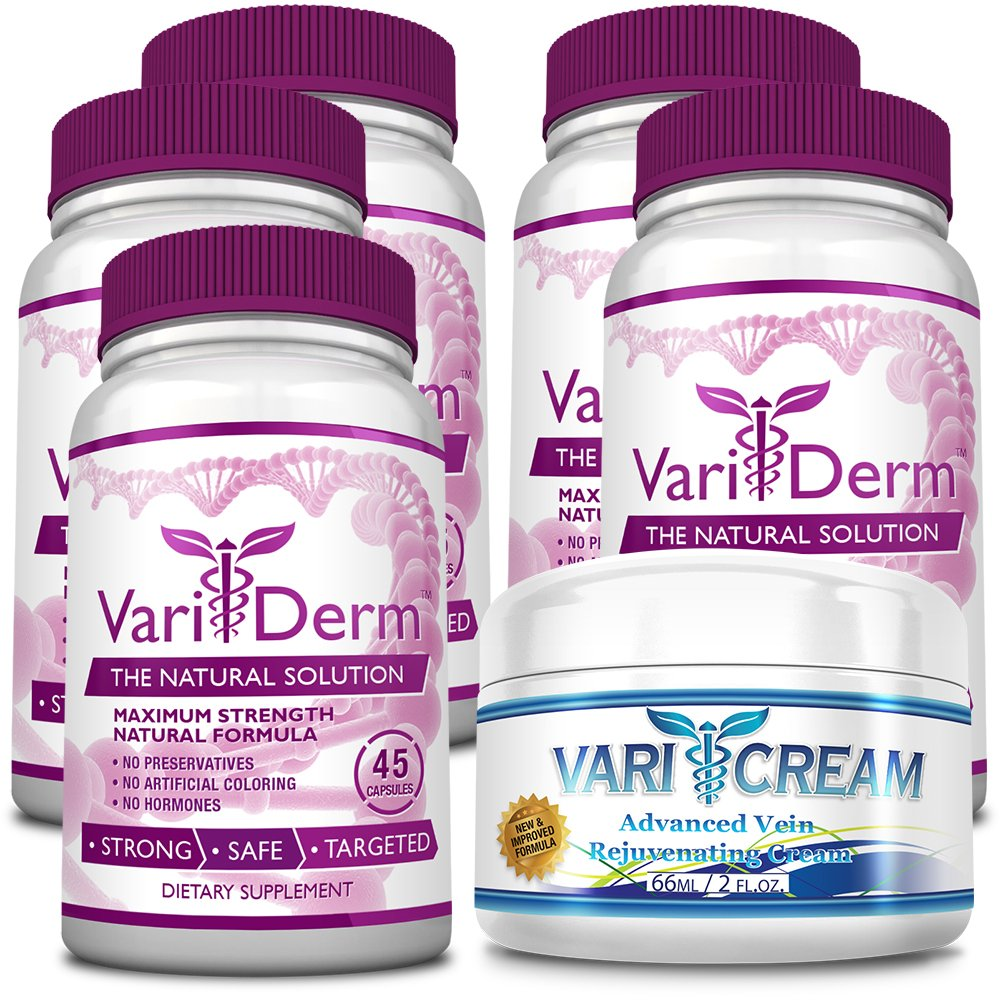 VariDerm: The Varicose and Spider Vein Solution (5 Bottles + 1 Cream) Improves Appearance of Varicose & Spider Veins - Relieves Varicose Vein Pain & Strain. Supports Healthy Vein Tissue Development by VariDerm
