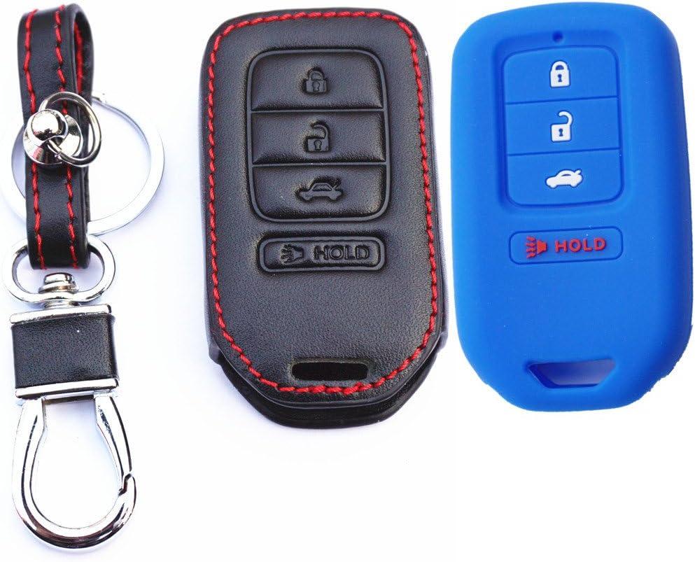 2Pcs MJKEY New Black Silicone Rubber 4 Buttons Smart Remote Key Fob Case Skin Key Cover Holder Jacket Protector for Honda Accord Civic CR-V CR-Z HR-V Pilot ACJ932HK1210A