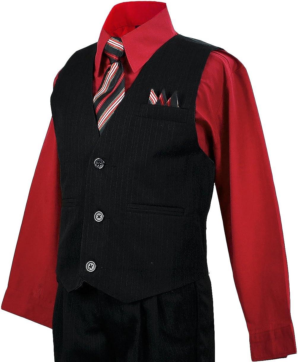 Boy/'s Black 4 Piece Formal Pin Stripe Suit Vest  Red Dress Shirt  Tie All Sizes