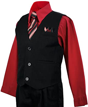 65e63321a Image Unavailable. Image not available for. Color: Boys Vest Suit Pinstripe Red  Shirt Outfit Size 3T