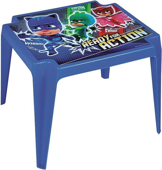 PJ-Masks - Mesa de plástico para niños, color azul, para interiores y exteriores, jardines, patios y picnics: Amazon.es: Hogar