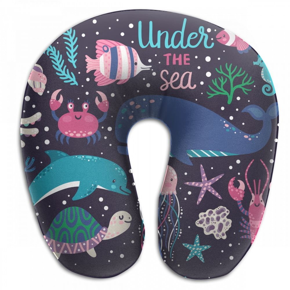 Raglan Carnegie Underwater Animals_ Octopus, Whale, Turtle, Dolpin, Jellyfish, Crab, Lobster, Seahorse Neck Head Support Travel Rest U Shaped Pillow for Airplane Train Car Bus Office