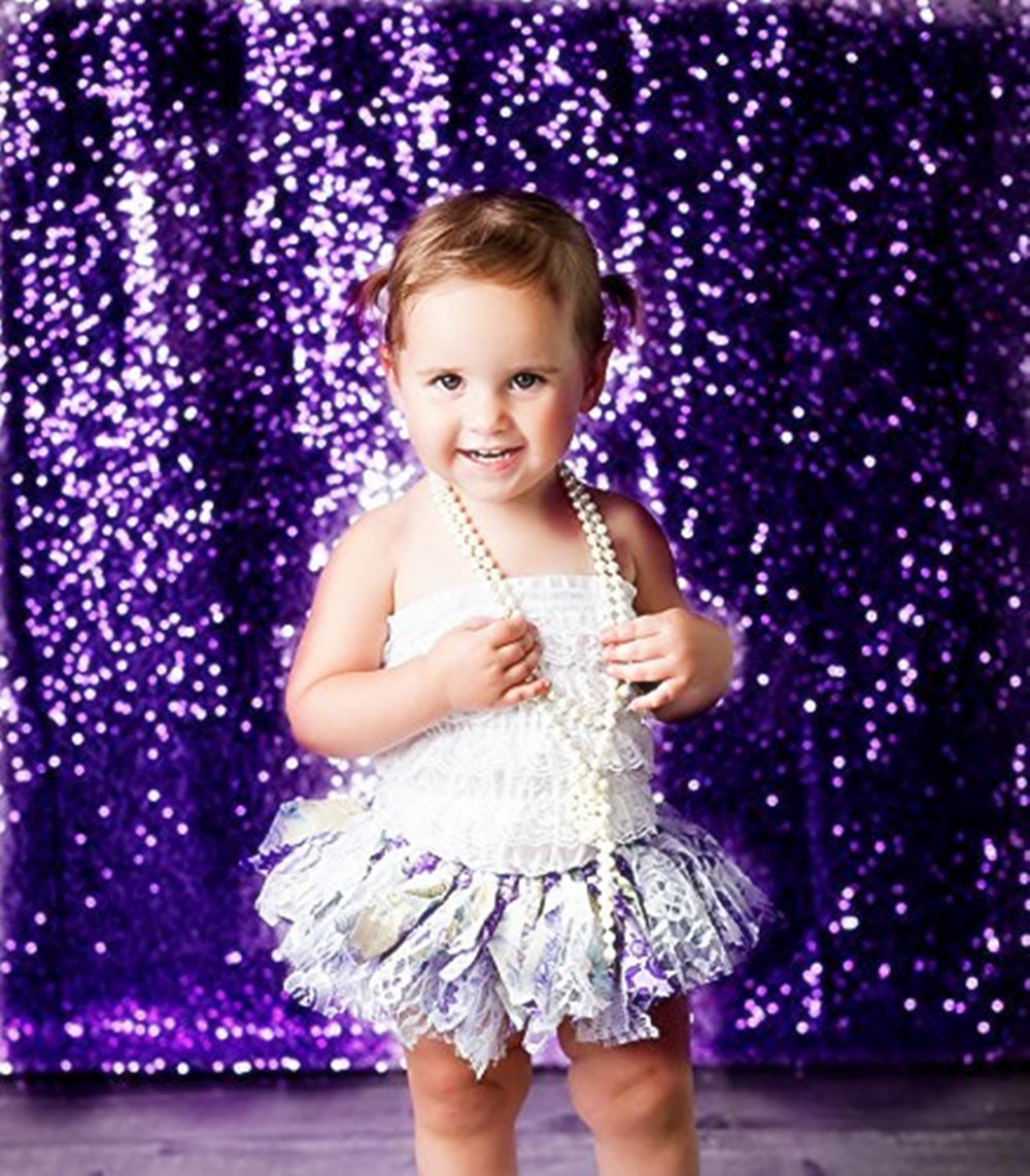 TRLYC 6Ft6Ft Purple Wedding Sequin Backdrop