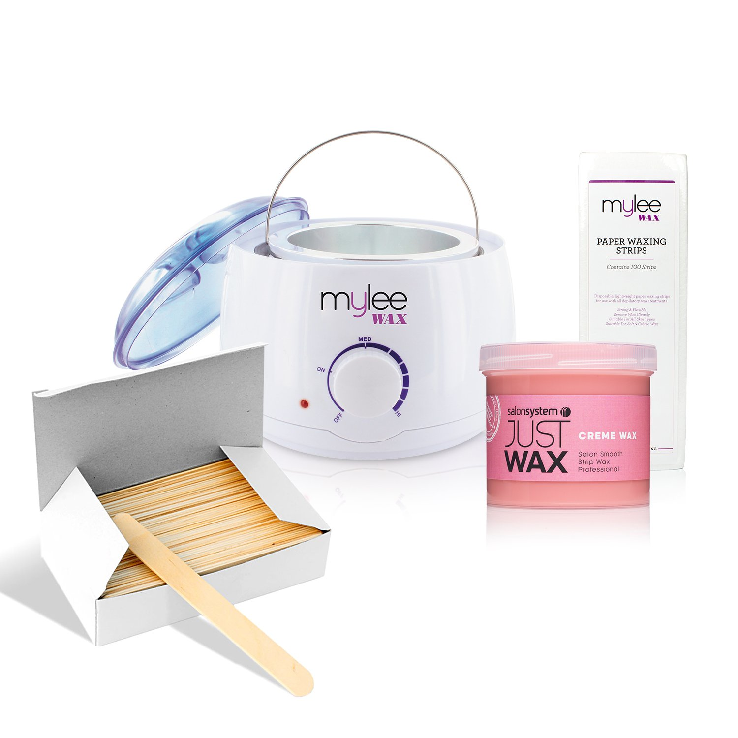 All in one waxing kit With creme Wax wax heater strips and spatulas wax kit Mylee