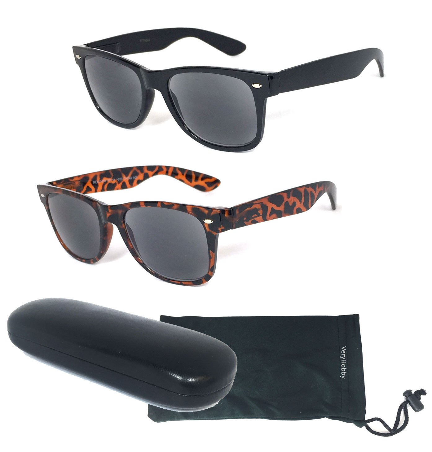 1 Hard Case /& 1 Soft Pouch Included Outdoor Reading Sunglasses NOT Bifocals by VeryHobby +1.50 2 Pair Combo Retro Wayfarer Full Reading Sunglasses