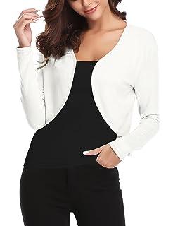 4884f51e57592 Boléro Femme Tricot Veste Gilet Court Cardigan Manches Longues Classique  Elégante Jersey Chic pour Robe Soirée