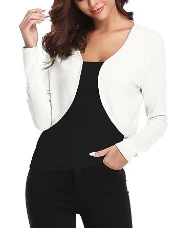 0b90103f4ca Abollria Veste Femme Boléro Gilet Court Cardigan Manches Longues Classique  Elégante Jersey Chic pour Robe Soirée
