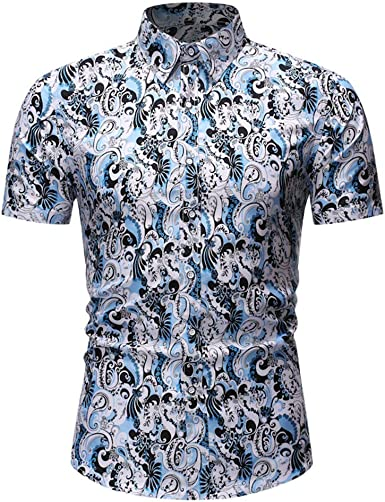 Outique Mens Button Down Shirt,Fashion Hawaiian Style Leisure Printing Long-Sleeved Shirt Tops Blouse Slim Fit Floral