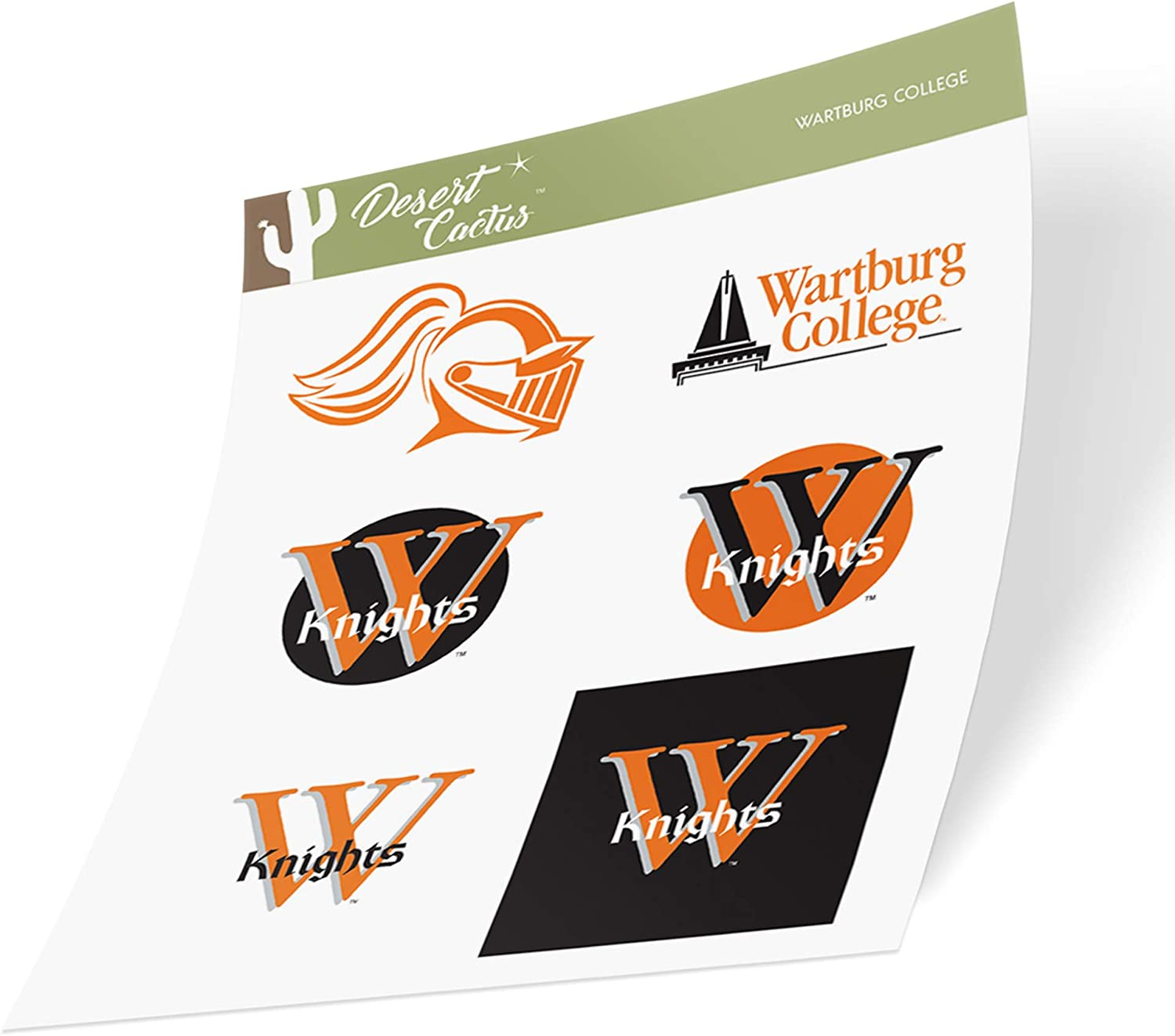Wartburg College Knights NCAA Sticker Vinyl Decal Laptop Water Bottle Car Scrapbook (Type 2 Sheet)