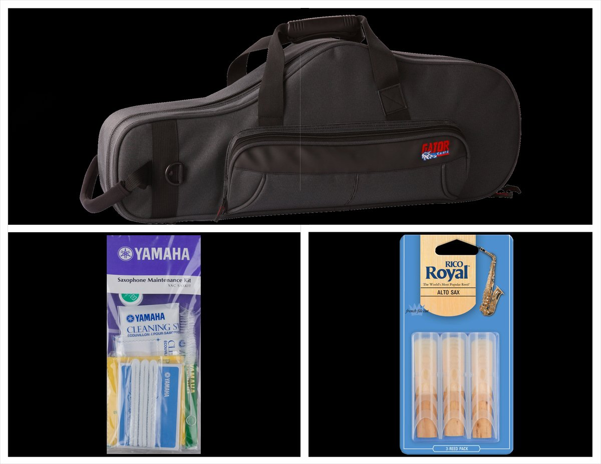 Alto Music Back To School Alto Sax Bundle with Black Gator Case and 2.5 Reeds Also Includes a Yamaha Alto Saxophone Maintenance Cleaning Kit and Rico Royal 3 Pack of Alto Sax Ree