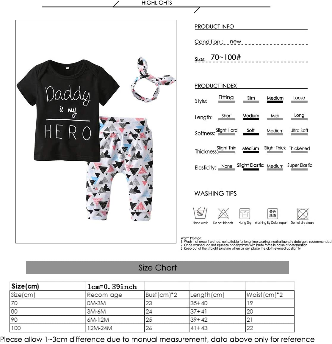 Puseky 3pcs//set Infant Toddler Baby Boy Girl Clothes Daddy is my HERO T-shirt Tops+Triangle Pants+Headband Outfits Set