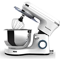 Nurxiovo 6-Speed Electric Mixer 7QT Stand Mixer Kitchen Tilt-Head Food Mixer with Stainless Steel Bowl 660W Dough Hook Whisk Beater White