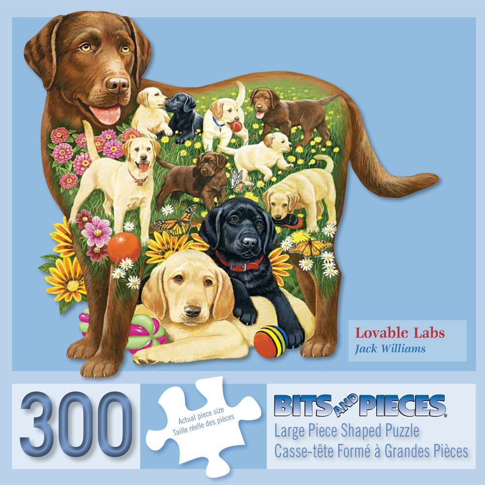 Bits and Pieces - 300 Piece Shaped Jigsaw Puzzle for Adults - Loveable Labs - Dog Jigsaw by Artist Jack Williams