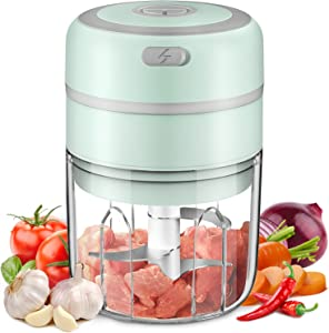 Electric Mini Garlic Chopper, Baby Food Maker 250ML, Kuopry Wireless Portable Food Processor for Meat/Vegetables/Chop Fruits/Onion/Garlic Peeler, Mini Chopper Food Processor-Green