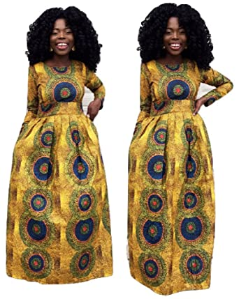 49f7497027 veroex Women Dress African Full Length Long Sleeve Maxi Dress With Side  Pocket at Amazon Women's Clothing store:
