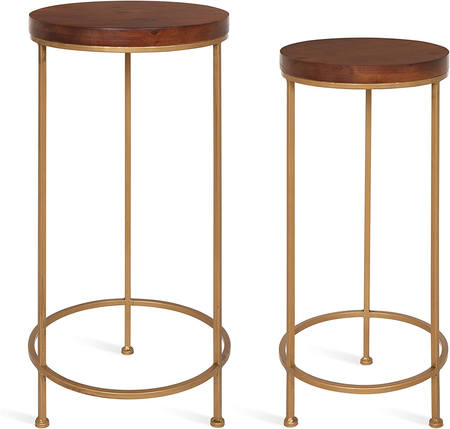 Kate and Laurel Espada Metal and Wood Nesting Tables 2 Piece Set, Walnut Top with Gold Base: Kitchen & Dining