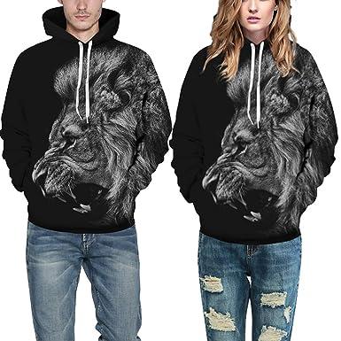 Roaring Snowy Graphic 3D Print Women Men Sweatshirt Pullover Tops Hooded Hoodies