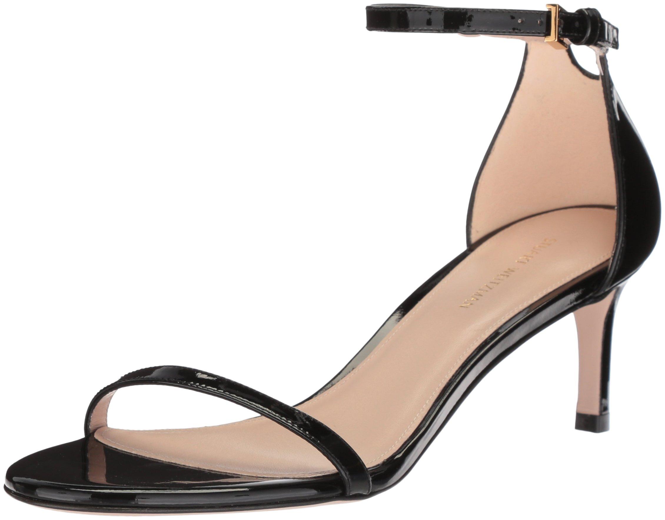 Stuart Weitzman Women's 45NUDIST Heeled Sandal, Noir Gloss, 10 Medium US