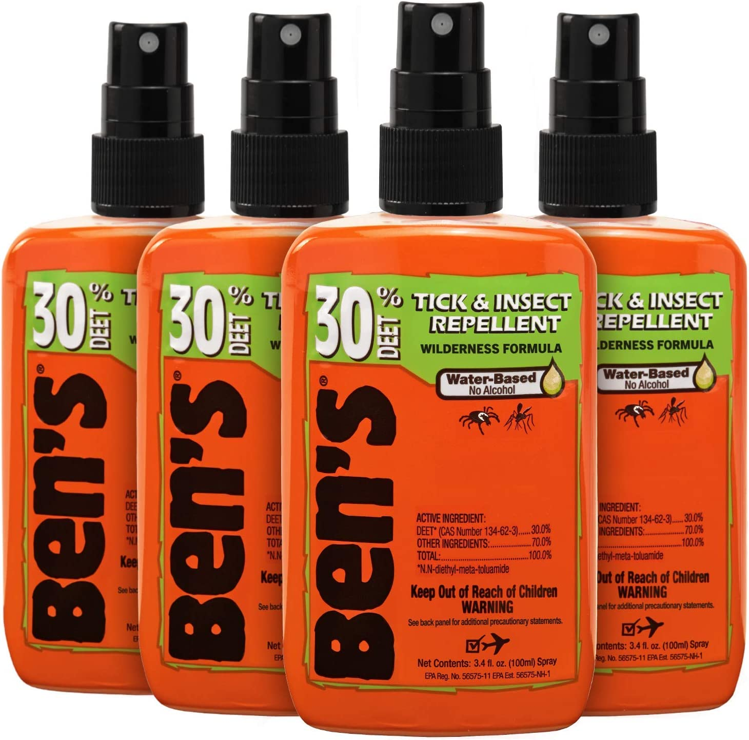 Ben's 30 Insect Repellent Pack 3.4 oz (Pack of 4)