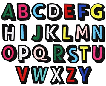 SOOKOO 26PCS Alphabet Letter Patches Embroidered Iron On Patch Appliques  Decorative Repair Patches DIY Sew on