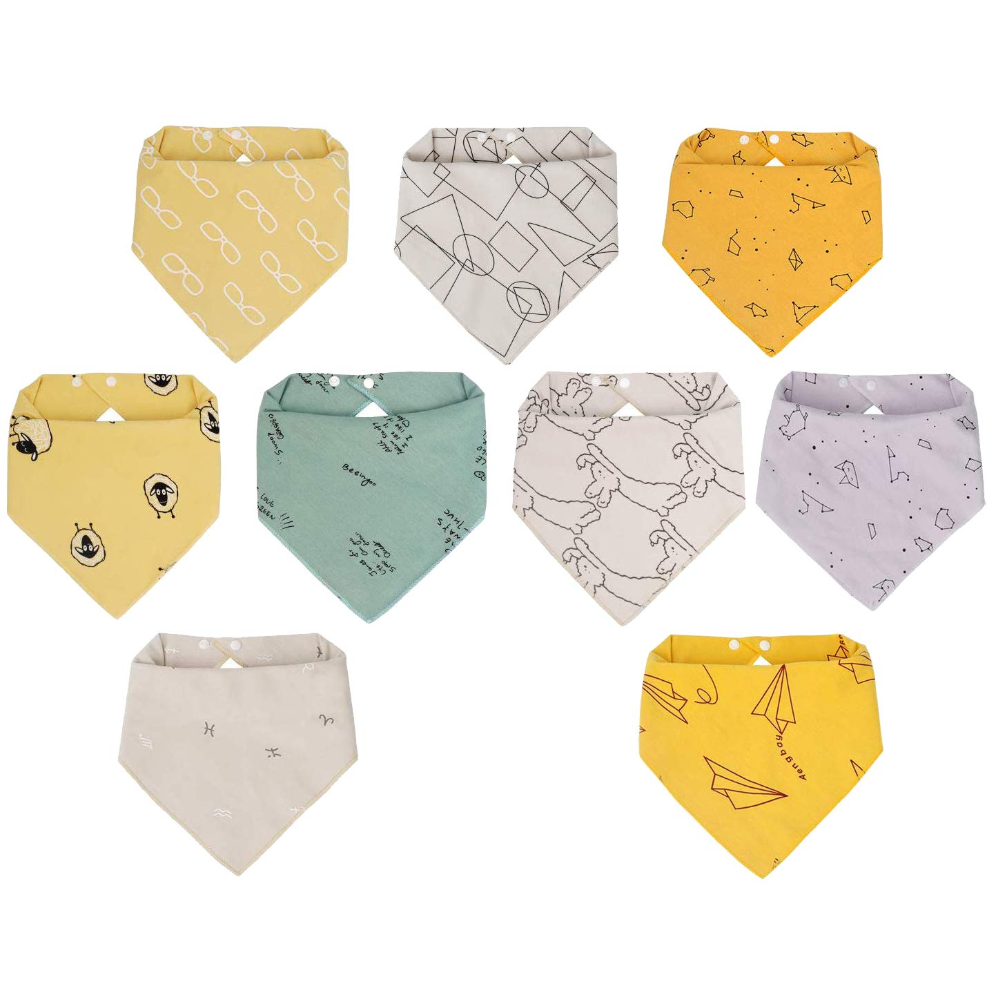 Viedouce Baby Bandana Drool Bibs 100% Organic Cotton Baby Burp Cloths with Adjustable Snaps, Neutral Set of 9: Baby