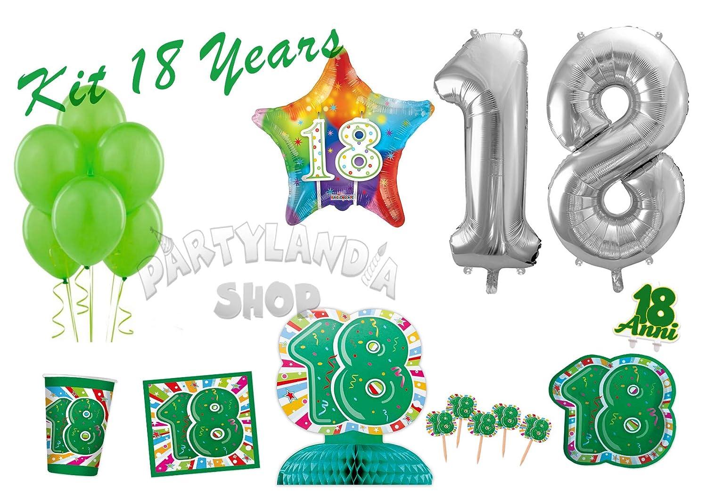 Partylandia Kit de Fiesta de cumpleaños de 18 años para 16 ...