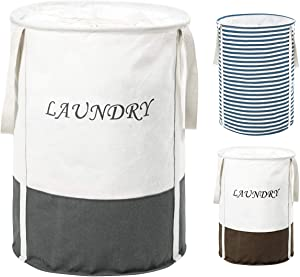 ZERO JET LAG 19 in Collapsible Laundry Hamper with Handles Drawstring Round Cotton Basket Hamper Storage(Grey)