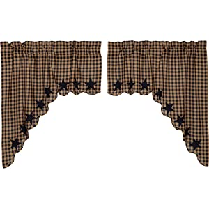 VHC Brands Classic Country Primitive Kitchen Window Curtains - Star Blue Scalloped Swag Pair x King Navy