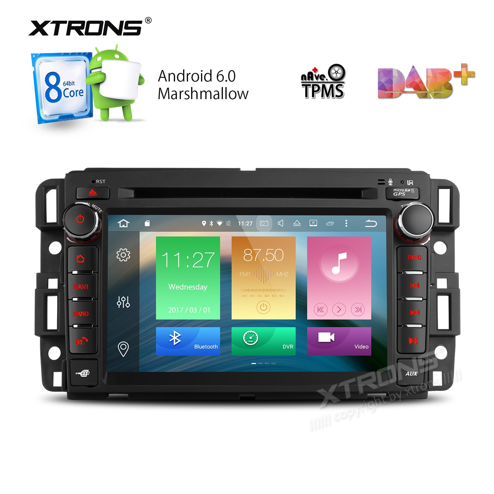 XTRONS 7 Inch Android 6.0 Octa-Core Capacitive Touch Screen Car Stereo Radio DVD Player GPS CANbus Screen Mirroring Function OBD2 Tire Pressure Monitoring for GMC Chevrolet