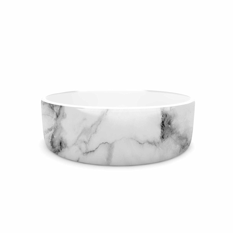 "KESS InHouse Kess Original ""White Marble"" Gray White Pet Bowl, 4.75"""