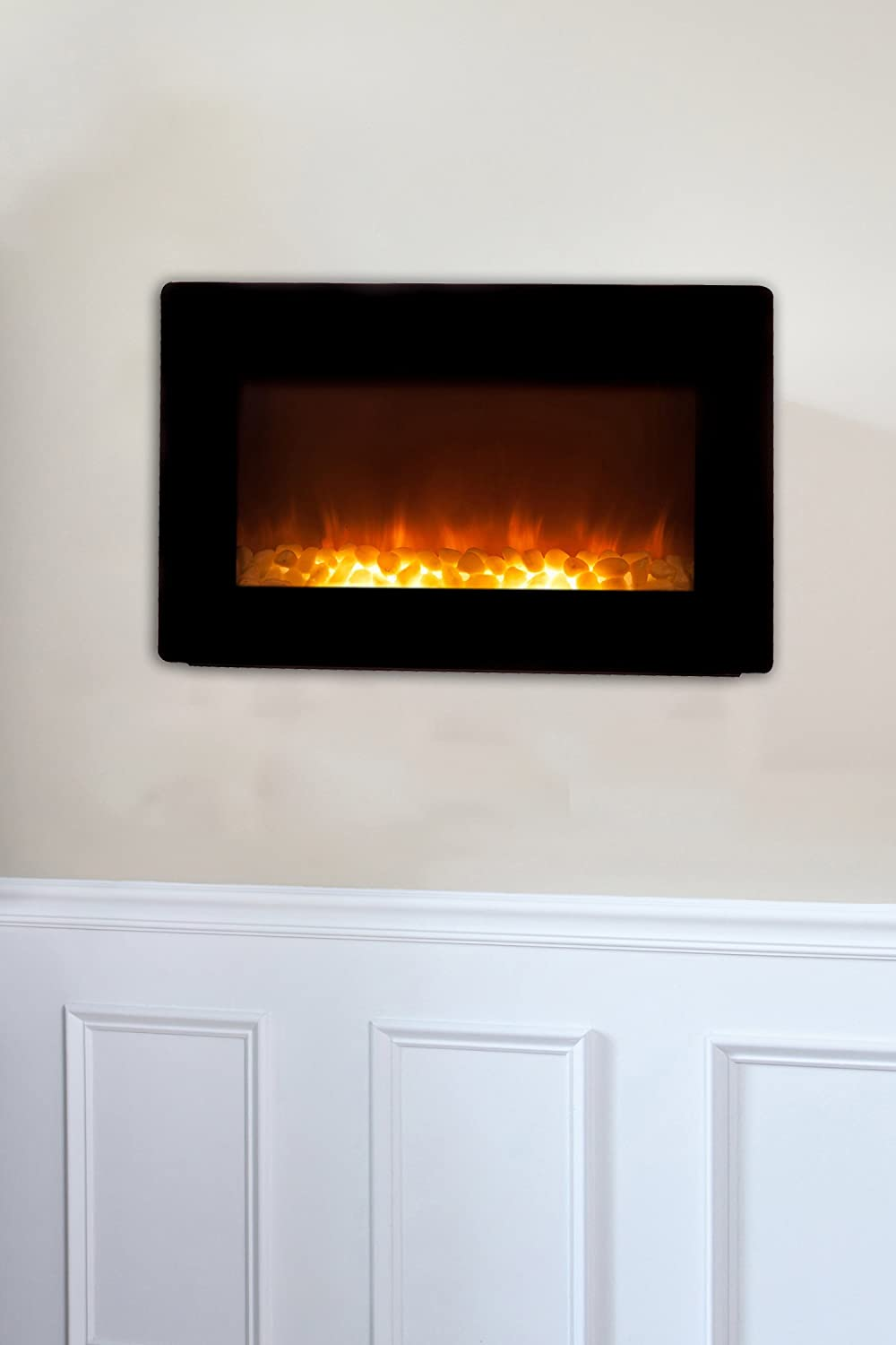 amazon com fire sense black wall mounted electric fireplace home