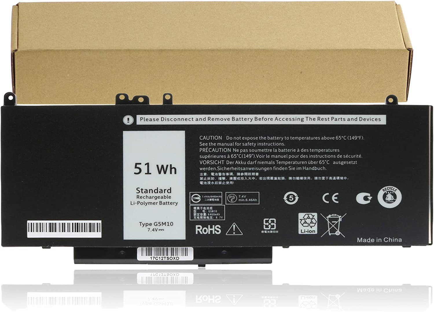 G5M10 Laptop Battery Replacement for DELL Latitude E5450 E5550 8V5GX R9XM9 WYJC2 1KY05 G5M10 Notebook Batteries -7.4V 51WH