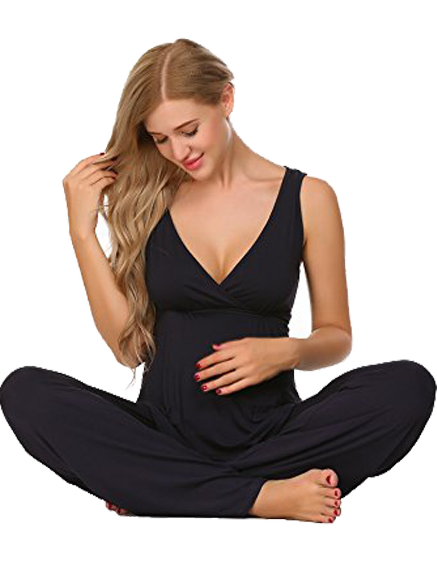 Ekouaer Women's Sexy Cotton Nightgown Short Lace Chemise Sleepwear Sleepshirts ,Navy Blue,Large
