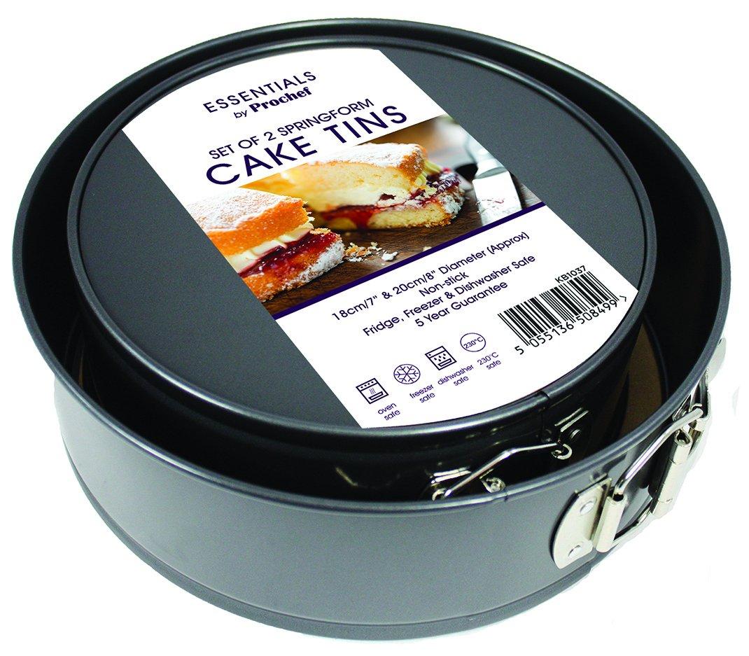 Prochef Non Stick Springform Cake Tins Premium Quality For Soft Blueberry Cheese 20cm Spongecakes Cheesecakes Fruitcakes 2 Tin Set 18cm 7inch 8inch
