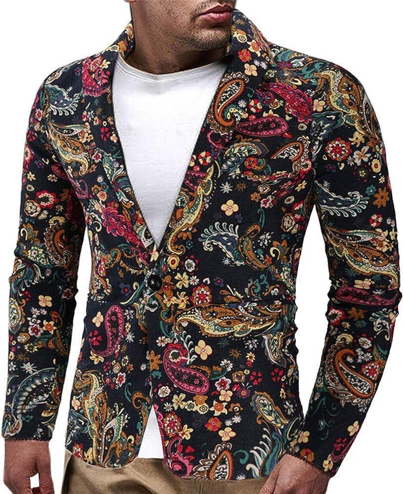 SALLYDREAM Chaqueta de Traje para Hombre,Chaquetas para Hombre de Vestir Blazer Hombre Casual Chaqueta de Abrigo Tops Estampado Vintage