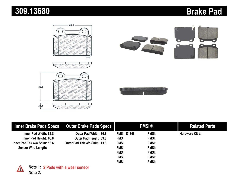 StopTech 309.13680 Street Performance Rear Brake Pad