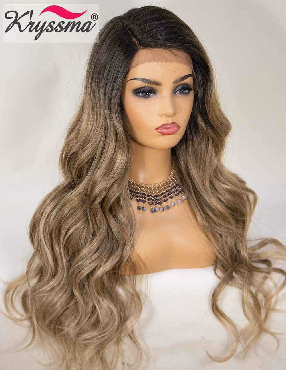 K'ryssma Ash Blonde Lace Front Wig Ombre Side Deep Parting Long Wavy Ombre Synthetic Wigs 22 inches 130% Density Heat Resistant Ombre Blonde Wigs by K'ryssma