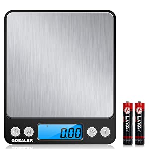 GDEALER Digital Pocket Kitchen Scale 0.001oz/0.01g 500g Kitchen Food Scale Jewelry Weight Compact Scale, Tare, Stainless Steel, Backlit Display, Black