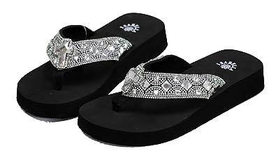 122b555c2f792 Women Flip Flop Flat Western Cross Slipper Bling Rhinestone Sandals (S)
