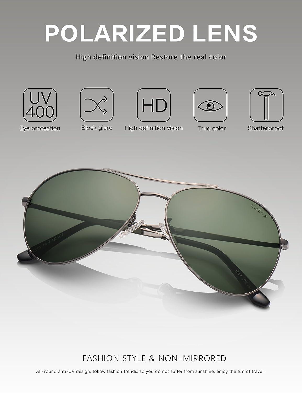 LUENX Piloten-Sonnenbrille mit polarisierenden Gläsern, Herren/Damen, mit eleganter Hülle